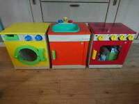 Children kitchen cooker & hob. washing sink & taps washing machine. Children's tole play.