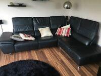 Nubia Black Leather Corner Sofa