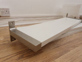3 white wooden shelves with metal brackets - excellent condition £10 only