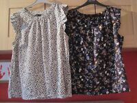 2 short sleeve tops/blouses size 18