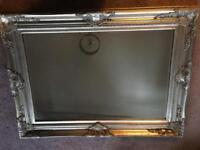 Silver framed mirror 115x85cm