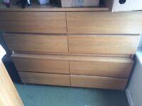Oak veneer wardrobe and chest of drawers