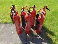 7x 2kg CO2 Fire Extinguishers - Full - Service Expired