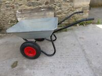Large Galvanised wheelbarrow &with 2 x Brand New Wheels