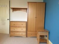 John Lewis beech children's bedroom furniture, wardrobe, chest of drawers, bedside table and shelf