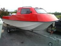 Boat cabin cruiser c/w 60hp Mariner pt&trim outboard and galvanized trailer for sale  Newtownards, County Down