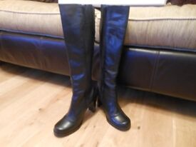 """Black """"Misses"""" knee-high leather boots by Faith"""