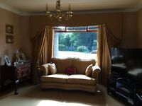 Gold curtains with solid pelmet £295.