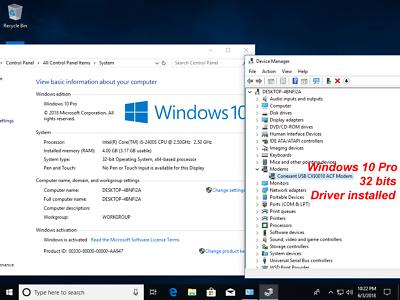USB 56K External Dial Up Voice Fax Data Modem Windows 10 / 8