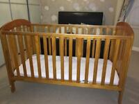Mamas and Papas solid pine cot bed with mattress