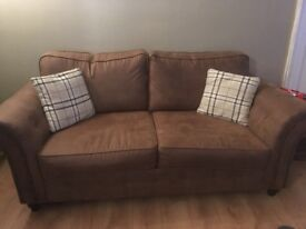 3 Seater Sofa Brown (x2) - (Incl. 5yr Stain Protection) Immaculate Condition 4 months old!