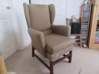 ORTHOPAEDIC STYLE ARM CHAIR WINGED HIGH BACK, some fading