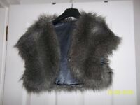grey faux fur stole
