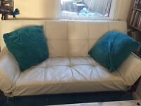White leatherette sofa bed £50