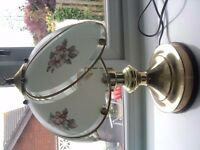 Brass and pattern glass side lamp