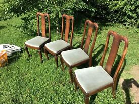 Set of 4 Queen Ann dining chairs, inlaid backs
