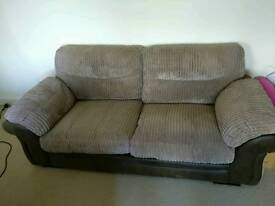 3 seater leather and suede sofa