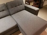 Gorgeous DFS grey 2 seater sofa with movable L footrest