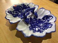 Blakeney Ironstone England Blue Large Handled Serving Dish