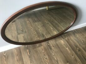 Vintage Heavy Oval Wall Hanging Bevelled Mirror