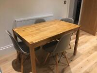 Solid Oak Dining Table and 4 Grey Art Deco Chairs