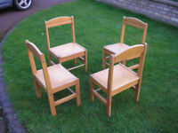 Four Beech wood childrens chairs