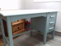 Old style desk pained in duck egg blue.