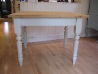 Lovely Small Solid Pine Kitchen / Dining Table - Professionally painted in Farrow & Ball Eggshell