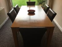Dining room table 180x90 6 leather chairs, sideboard 180x90 mirror 180x460
