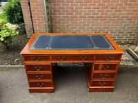 Large Chesterfield style Twin Pedestal Writing Desk with Blue Leather Top Inlay & Key
