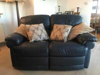 Leather 3 seater sofa and accompanying 2 seater sofa with recliner