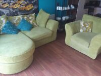 Light Green Chaise Sofa and Arm Chair