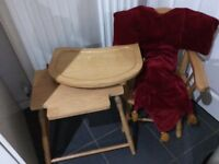 Childrens wooden chair and table to sit at can be made into high chair too