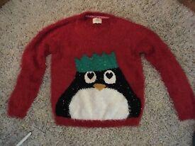 Xmas Christmas jumper day red fluffy penguin jumper size medium 8, 10, 12