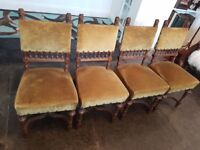 Set Eight Victorian Carved wood Dining Chairs