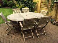Lindsey Teak Extending Garden Table & Six Folding Chairs