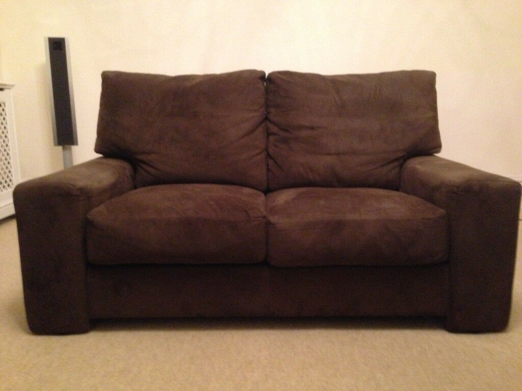 john lewis 2 3 seater sofa in chocolate brown suede leather just reduced in wandsworth london. Black Bedroom Furniture Sets. Home Design Ideas