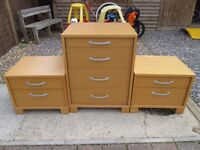 chest of draws and 2 bedside matching units