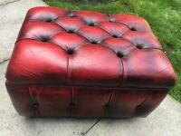 CHESTERFIELD OXBLOOD FOOT STOOL VINTAGE