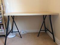 IKEA desk / table, grey trestles + birch effect top