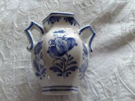 Delft pottery blue and white small vase