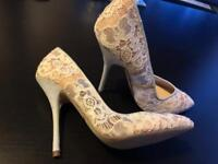 White lace heels size 6
