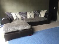 Can Deliver- Gorgeous Half Leather Silver Suede Corner Sofa