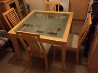 Pinewood Glass Top Square Dining Table With 4 Matching Chairs Good Condition