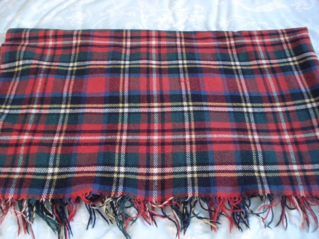 Vintage Tartan Wool Travel Rug Picnic Blanket