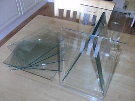 9 X BEVELLED GEORGIAN DOOR GLASS PANES.