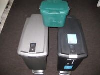 SET OF 2 X 40 LITRE 'SIMPLEHUMAN' SLIM PEDAL WASTE BINS (BLACK, GREY). SOFT CLOSE LIDS + FOOD CADDY.