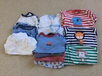 Boys sleepsuits and vests, age 12-18 months