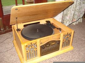 Wooden Prolectrix Retro Style Cd / Radio/ Vinyl Turntable 45/ 33 Music Centre
