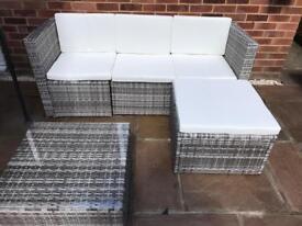 Grey Rattan 3 Seater Sofa